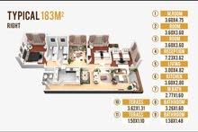 شقة 183م للبيع في الحي الاول بيت الوطن