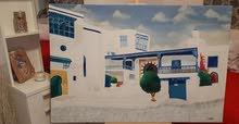 لوحة فنية زيتية لمعالم تونسية
