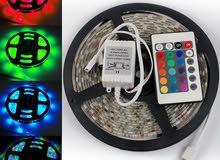 حبل LED ليد إضاءة زينه يضئ كل الألوان و الحركات مع ريموت تحكم  دبل فيس من الخلف