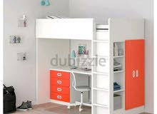 سرير طابق مع مكتب وولاب من ايكيا