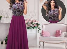 فستان شيفون مع برق جوده عاليه بحاله ممتازه