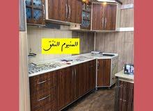 مطبخ المنيوم مع ابواب HDF تركي مع مرمر صناعي