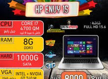 HP ENVY 15 CORE I7 QMكاش 6 ميجا 8 ثريد رمات 8 جيجا هارد 1000ب2 كارت شاشه
