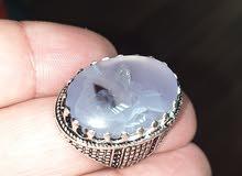 خاتم فضة 925 باحجار عقيق يمني طبيعي