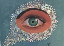 لوحة فنية (عين الحسود) الوان اكريليك مع ورق لماع