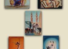 5 لوحات زيتيه بسعر لوحه