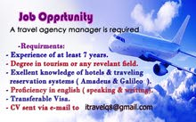 A travel agency manager required