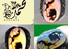 خاتم فضة بحجر عقيق يماني مصور طبيعي