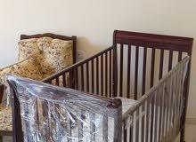 سرير أطفال + عرباية أطفال + كرسي أطفال هزاز