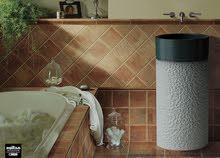 حوض رخام قطعة فنية من مظلوم اسطوانى الشكل بكاافة لوازمه