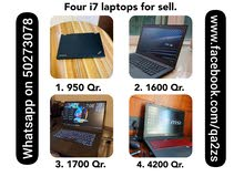 4 pieces i7 used laptops for sell