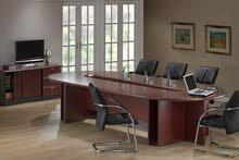 أثاث مكتبي جديد ( طاولة مكتب + طاولة اجتماعات + كرسي +حافظ ملفات + صوفا + ريسبشن
