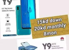 Huawei  y9 for installment  15 kd down payment