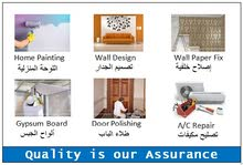 Home Painting/Wall Design/Wallpaper Fixing /Wood Door Polish/AC Repair Services