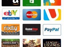 بطاقات جوجل بلاي، ايتونز، اكس بوكس، ستيم في اربد