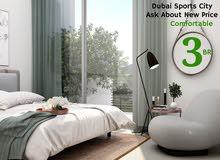 شقة للايجار في دبي، مدينة دبي الرياضية 3 نوم مبنى جديد