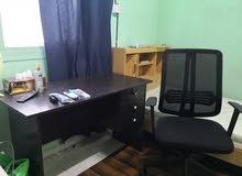 wooden office desk with chair -- مكتب خشبي محلي