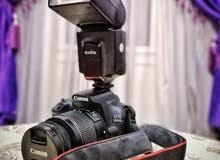 كاميرا Canon 1300D للايجار لينس 18:55  +   فلاش Godox560 العنوان : كفر عشما _ ال