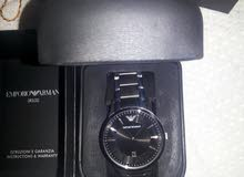 القاهره جيورج ارماني ساعة للرجال بمينا لون ازرق و سوار من الستانليس ستيل - A