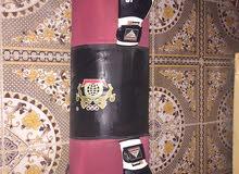 كيس ملاكمة مع كفوف نظيفات