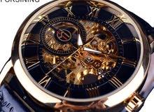 ساعة يد رجالي جلد