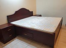 King size Bed with matress with side table