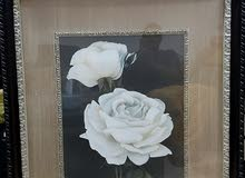 للبيع لوحة فنية ثمينة أمريكي الصنع أسمها الورود البيضاء مطلى ورق ذهب حقيقي