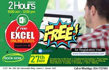 Excel free class on 27th Nov 2 hours - 547727005  065464400
