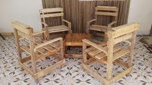 كرسي  طاولة بخشب جلسات حديق البيت
