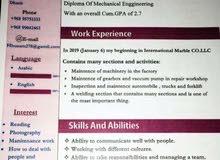 محتاج وظيفة دارس في الكلية التقنية دبلوم هندسة ميكانيك(لدى خبرة)