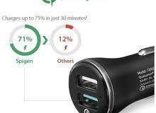 شاحن سيارة أصلي يدعم الشحن السريع بقوة QC 3.0 للهواتف والايباد