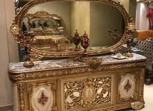 غرفة سفرة خشب زان حفر يدوي 3قطع 8كراسي مصري دمياطي