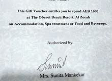 1000Dhs to use at OBEROI Hotel AL ZORAH Ajman