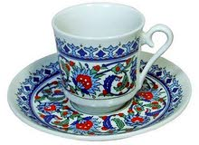أطقم فناجين قهوة صناعة تركية بالنقوش العثمانية
