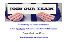 We are hiring indian & philipina staff nurses with Kuwait  MOH license
