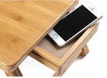 طاولة لابتوب متعددة الاستخدامات، مصنوعة من الخيزران ويمكن استخدامها كصينة لتناول الفطور،