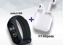 Airpods i11 + Smart Watch M4 band سماعة + ساعة الحق العرض