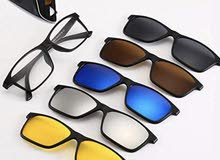 5 in 1 Magnetic Glasses 5Pcs Polarized Clip-on Sunglasses Plastic Frame for Night Driving