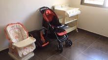 مستلزمات أطفال (عربة + كرسي سياره + بانيو استحمام + كرسي طعام) من juniors