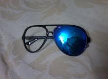 نظارة راي بان أيطالية لون أسود بلاستيك أسود و عدسات زرقاء