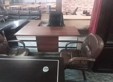 مكتب مدير فخم مع كراسي جلد مع خزانة ملفات مع طقم كنب جلد