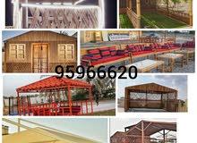 نعمل مظلات سيارات ومظلات الحدائق والمظلات الخشبية والسعفية