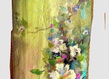 زهور رسم يدوي بألوان الاكريللك علي خشب أشجار طبيعي أشكال حره غير منتظمه بدون برواز
