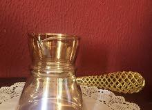 ركوة قهوة كبيره زجاج - لونها عسلي شفاف