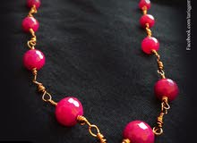 Handmade Copper Necklace with Natural Beads Ruby!