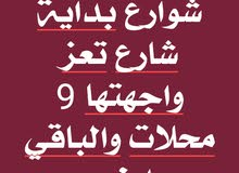 9 فتحات  بداية شارع تعز والبقية ارض 37 لبنه ثلاث شوارع
