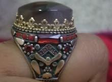 خاتم فضه عقيق يمني