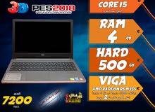laptop dell core i5 ram 4 hdd 500 viga amd + intel لالعاب 2018 وبرامج الجرافيك