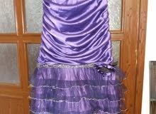 فستان سهرة موف ساتان قيا س 44 مرتب مستعمل مرة واحدة