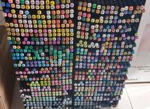 أقلام فلوماستر دبل وجهين ألوان مختلفة ربع دينار القلم
